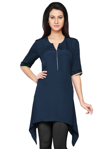 Faux Crepe Asymmetric Tunic in Dark Blue by Tadpole Store
