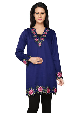 Embroidered Cotton Tunic in Dark Blue by Tadpole Store
