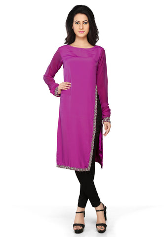 Embroidered Faux Crepe Tunic in Purple by Tadpole Store