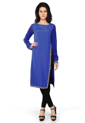 Embroidered Faux Crepe Tunic in Royal Blue by Tadpole Store