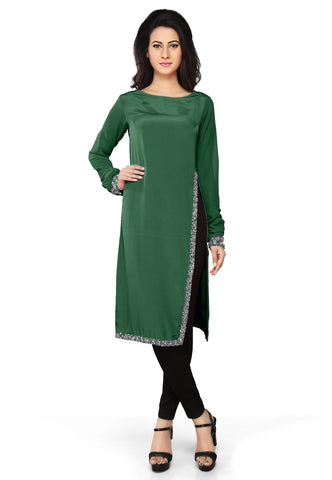 Embroidered Faux Crepe Tunic in Dark Green by Tadpole Store