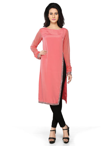 Embroidered Faux Crepe Tunic in Coral Red by Tadpole Store