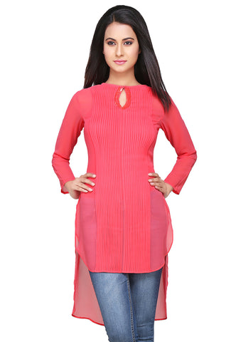 Pink Georgeorgette Sequin Embroidered Tunic by Tadpole Store