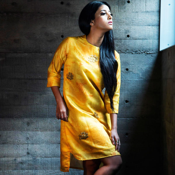 Canary Shift Dress In Yellow
