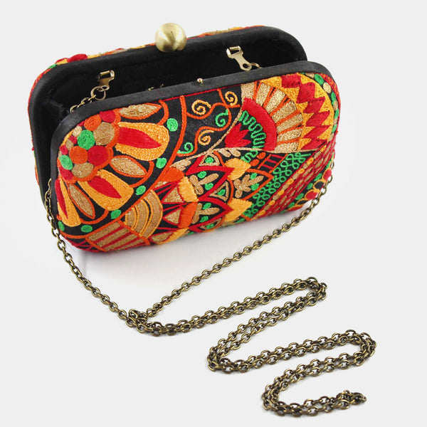 Multi-Colour Hand Embroidered Garden Silk Clutch