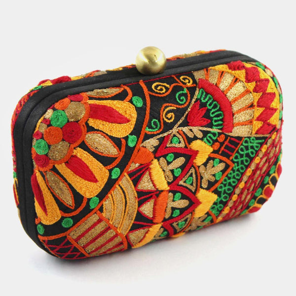 Multi-Colour Hand Embroidered Garden Silk Clutch by Tresor