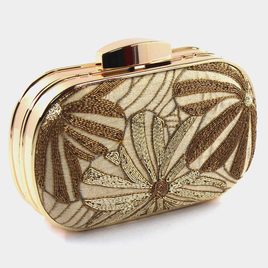 Beige Zardozi Flower Power Dual Metal Silk Clutch by Tresor