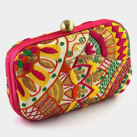 Multi-Colour Hand Embroidered Flower Rise Silk Clutch by Tresor
