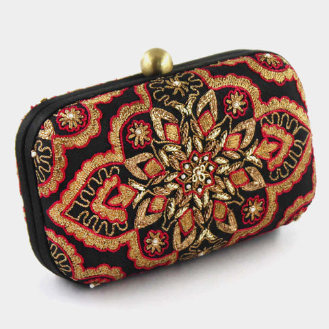 Black Zardozi Ethnic Beauty Silk Clutch by Tresor