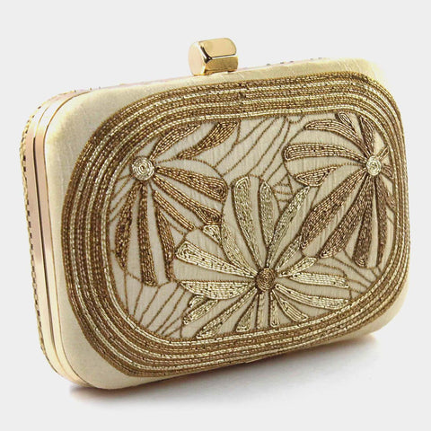 Beige Zardozi Antique Flower Silk Clutch by Tresor