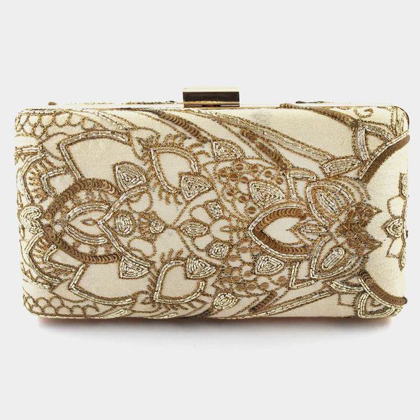 Beige Zardozi Machine Silk Clutch