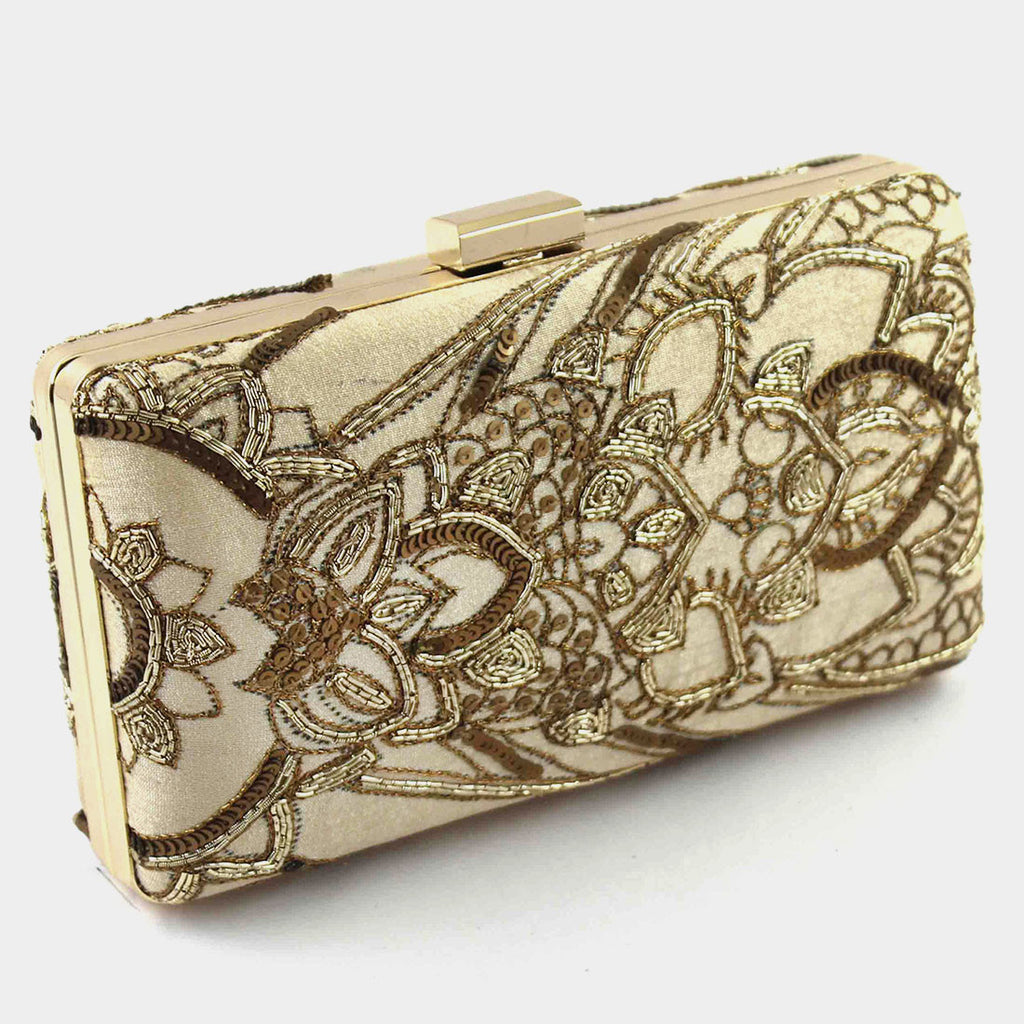 Beige Zardozi Machine Silk Clutch by Tresor