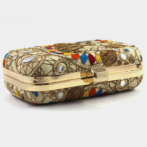 Beige Zardozi Retro Bead Silk Clutch