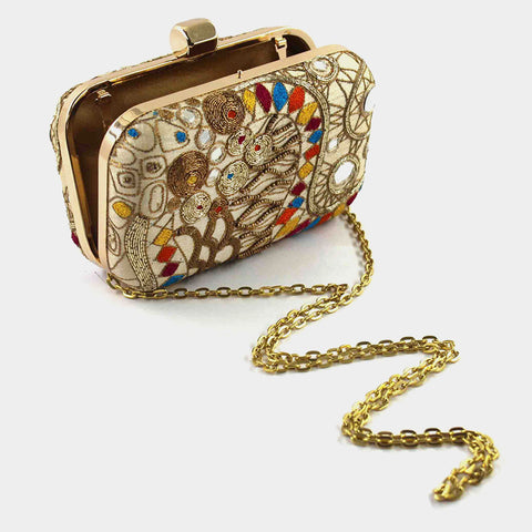 Beige Zardozi Retro Bead Silk Clutch by Tresor