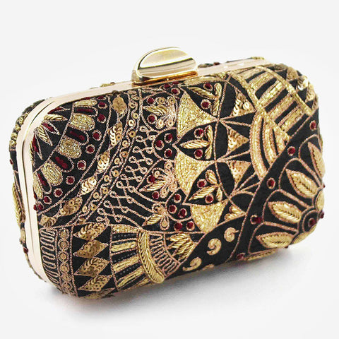Black Zardozi Bead Silk Clutch by Tresor