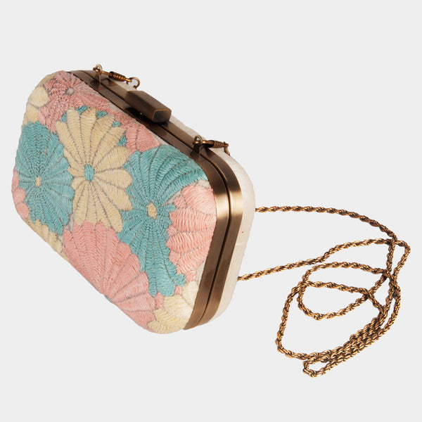 Raw Silk Orange Pastel Floral Clutch