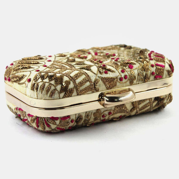 Beige Zardozi Beaded Silk Clutch