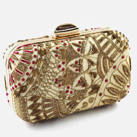 Beige Zardozi Beaded Silk Clutch by Tresor