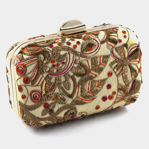 Beige Zardozi Bead Silk Clutch by Tresor