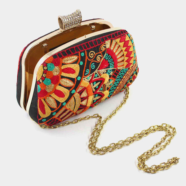 Multicolor Hand Embroidered Silk Clutch