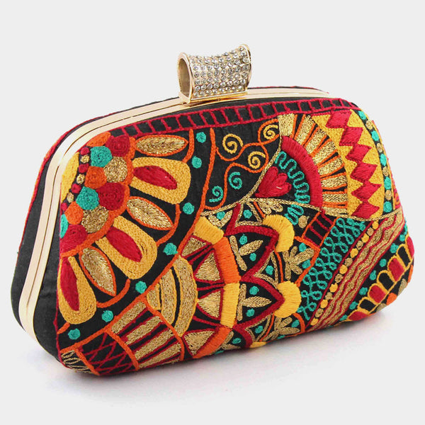 Multicolor Hand Embroidered Silk Clutch by Tresor
