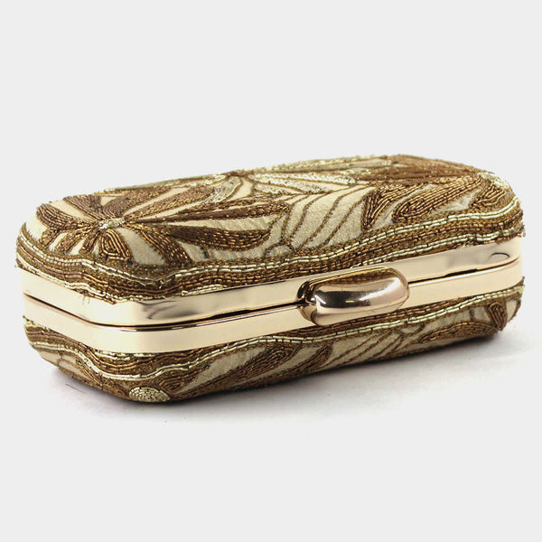 Beige Zardozi Flower Silk Clutch