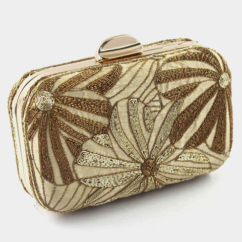 Beige Zardozi Flower Silk Clutch by Tresor