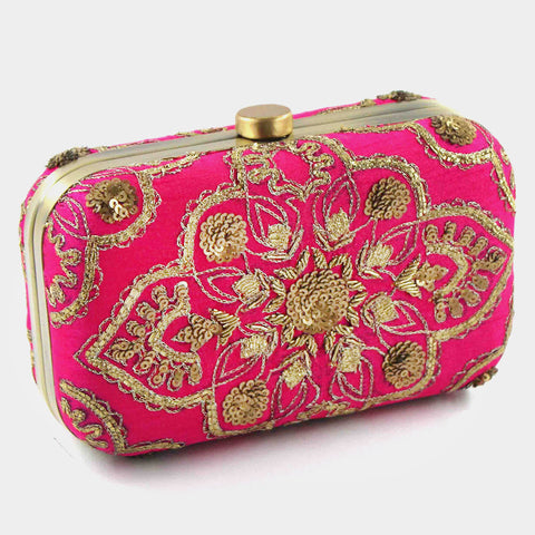 Royal Pink Zardozi Silk Clutch by Tresor