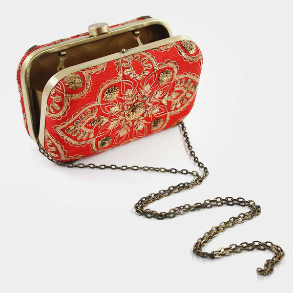 Red Zardozi Silk Clutch