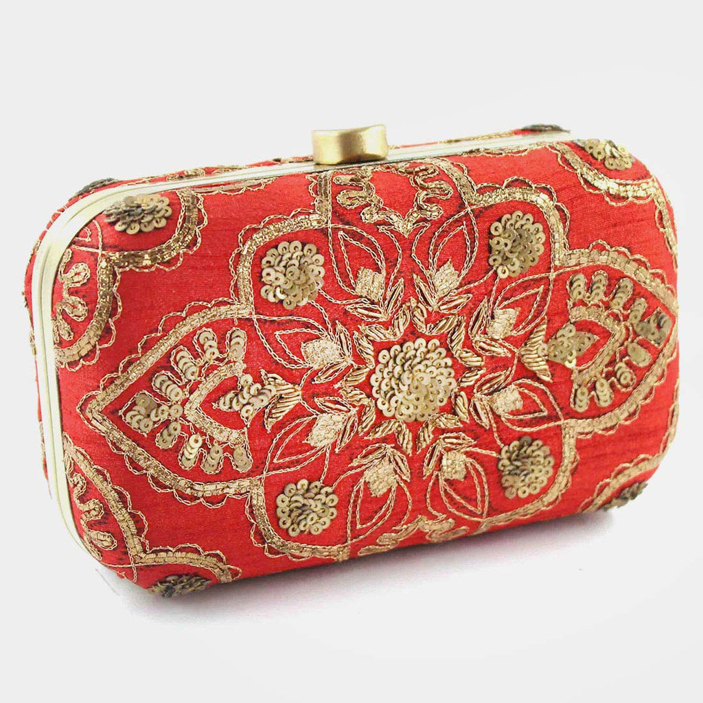 Red Zardozi Silk Clutch by Tresor