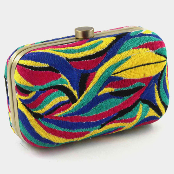 Multicolor Hand Embroidered Threadwork Silk Clutch by Tresor