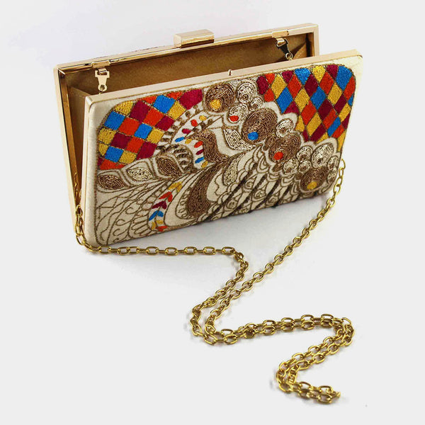 Multicolor Zardozi Stepper Silk Clutch With Threadwork