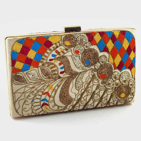 Multicolor Zardozi Stepper Silk Clutch With Threadwork by Tresor