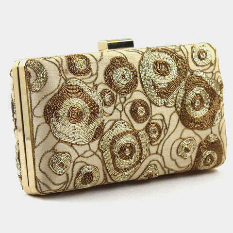 Beige Zardozi Abstract Rose Silk Clutch by Tresor