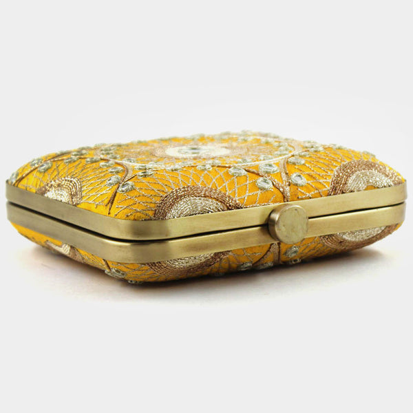 Yellow Hand Embroidered Silk Clutch With Mirrorwork