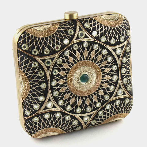 Black Hand Embroidered Silk Clutch With Mirrorwork by Tresor