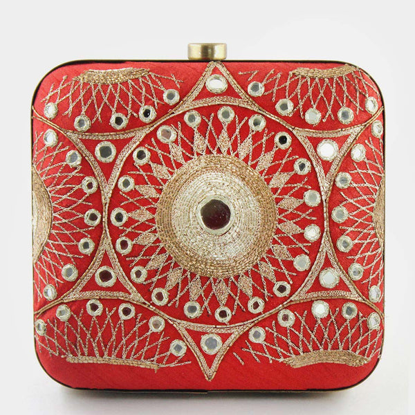 Red Hand Embroidered Silk Clutch With Mirrorwork