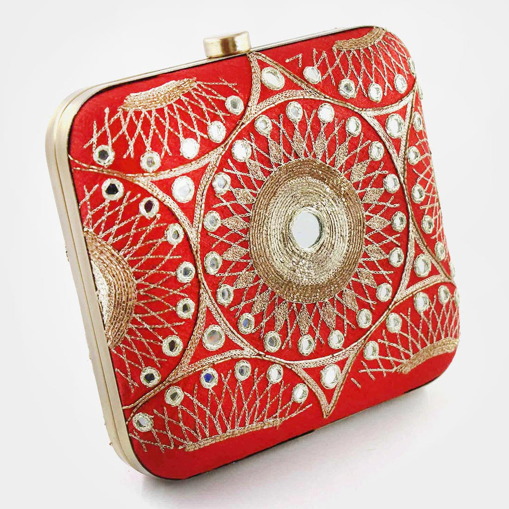 Red Hand Embroidered Silk Clutch With Mirrorwork by Tresor