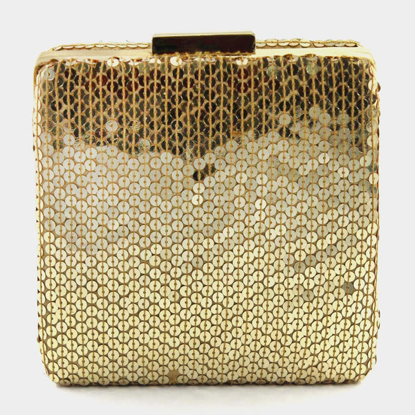 Golden Mirror Silk Clutch