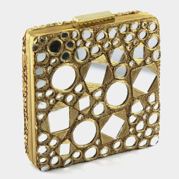 Golden Mirror Silk Clutch by Tresor