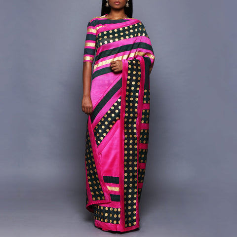 Fuchsia Chanderi Silk Saree with Blouse by Vijay Balhara