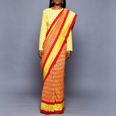 Multicolored Chanderi Silk Saree with Blouse by Vijay Balhara