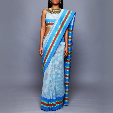 Multicolored Silk Saree with Blouse by Vijay Balhara