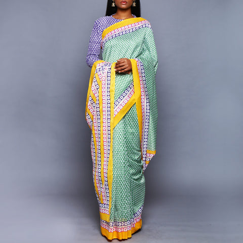 Green Chanderi Silk Saree with Blouse by Vijay Balhara