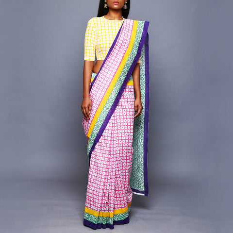 Floral Print Chanderi Silk Saree with Blouse by Vijay Balhara