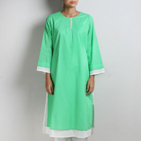 Sufiyana Green Cotton Double Layered Long Kurta by Vasstram