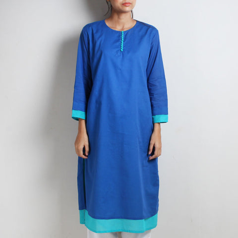 Sufiyana Blue Cotton Double Layered Long Kurta by Vasstram