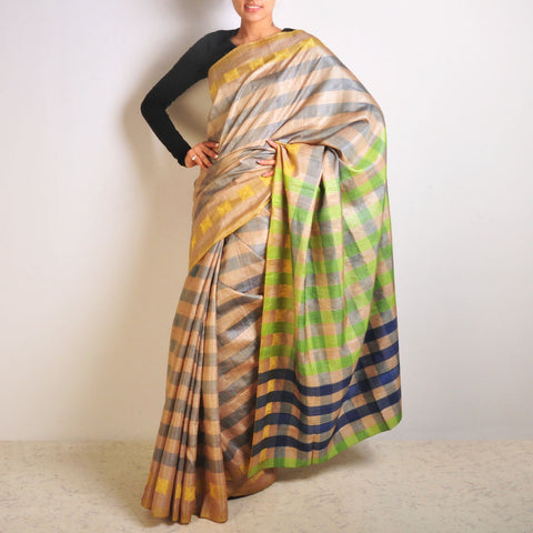 Blue Tussar Checks Saree by VYUTI