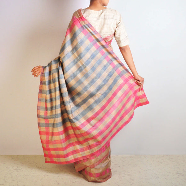 Pink Tussar Checks Saree