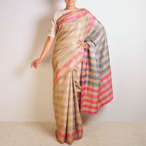 Pink Tussar Checks Saree by VYUTI